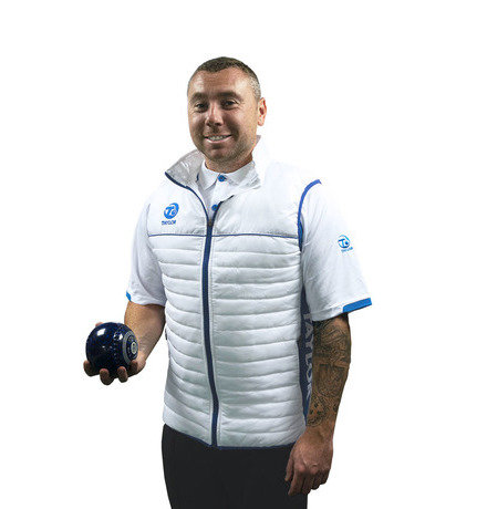 MENS PUFFA BODYWARMER - WHITE/BLUE