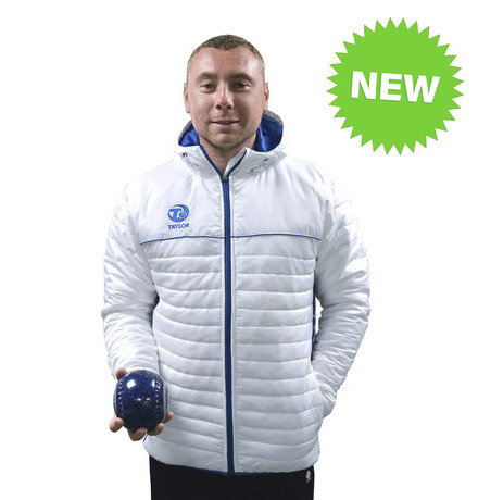 MENS PUFFA HOODIE JACKET - WHITE/BLUE