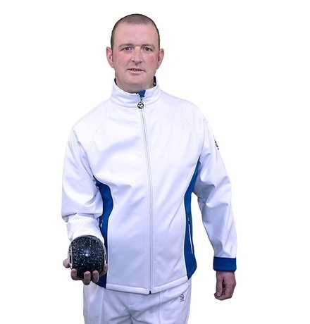 Gents Soft Shell Sports Jacket - White/DBlue Thumbnail