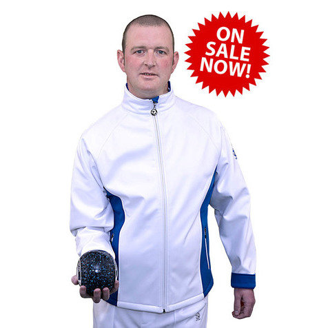 Gents Soft Shell Sports Jacket - White/DBlue