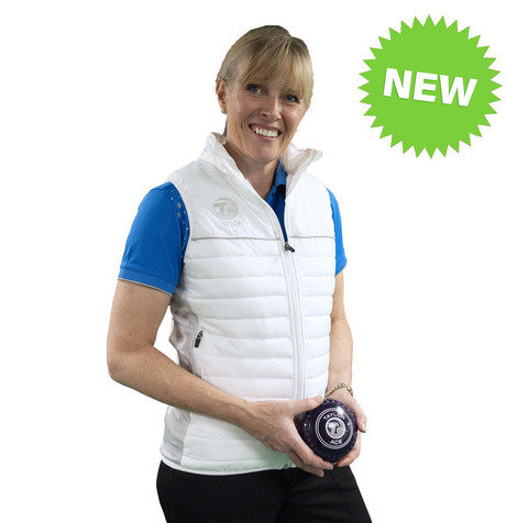 LADIES PUFFA BODYWARMER - WHITE/GREY