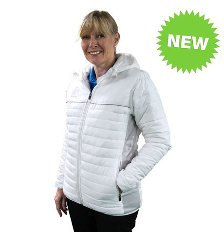 LADIES PUFFA HOODIE JACKET - WHITE/GREY