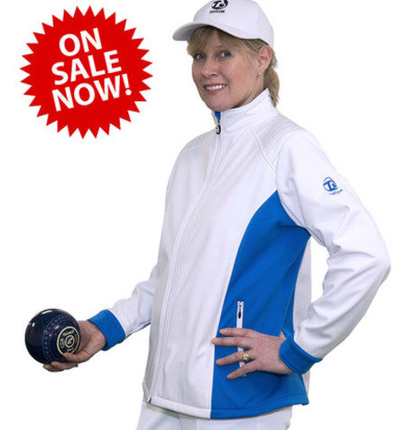 Ladies Soft Shell Sports Jacket White/Blue