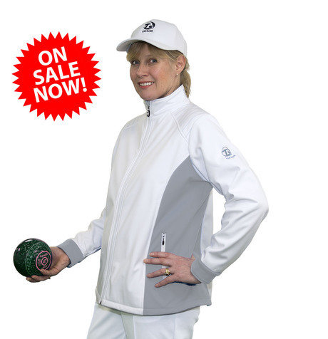 Ladies Soft Shell Sports Jacket - White/Grey